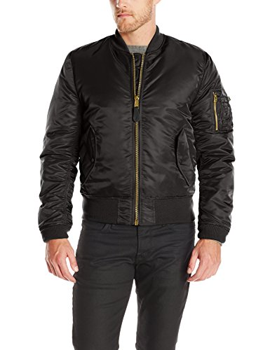 Alpha Industries Men's Slim Fit Bomber Flight Jacket, Black, Small