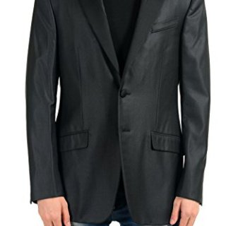 Versace Gianni Men's 100% Wool Black Two Button Blazer Sport Coat