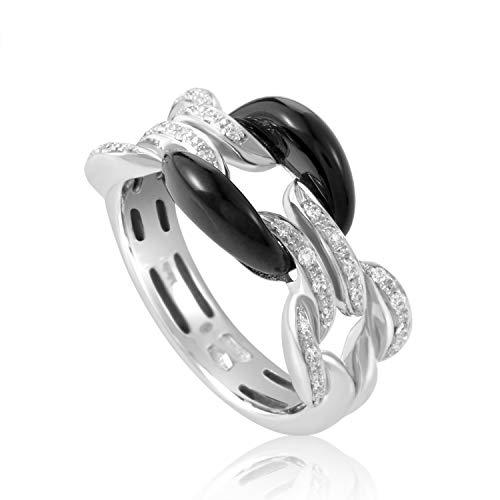 Damiani D.Lace 18K White Gold Diamonds and Onyx Cushion Ring