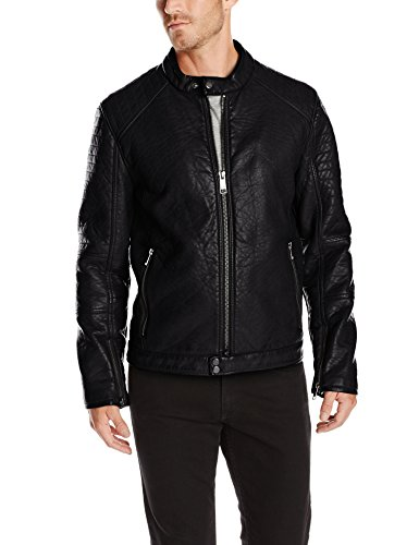 Marc New York by Andrew Marc Men's Baxter Bubble Faux Leather Moto Jacket