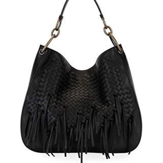 Bottega Veneta Large Loop Fringe Intrecciato Leather Hobo Bag Made in Italy