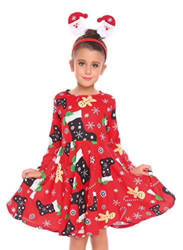 Arshiner Kids Little Girls Christmas Dress Santa Reindeer