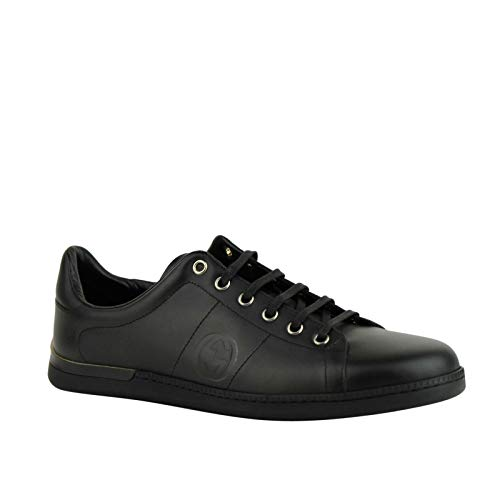 Gucci Men's Black Leather Sneaker with Interlocking G Emblem