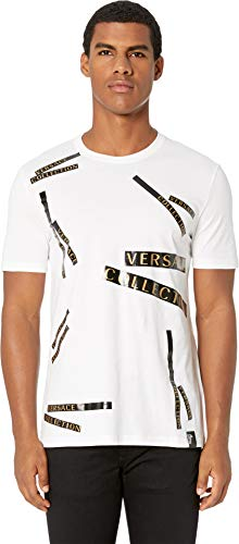 Versace Collection Men's Staggered Logo T-Shirt White Large