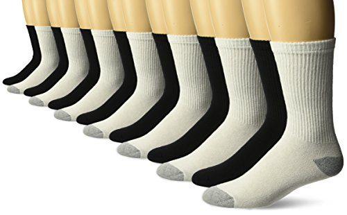 Gildan Men's Crew Socks Black, White