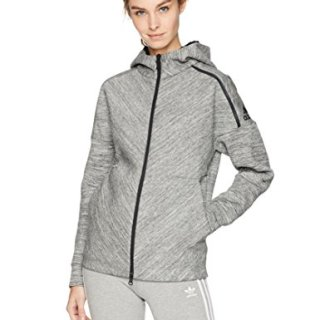 adidas Women's ZNE Road Trip Hoodie, Storm Heather, X-Large