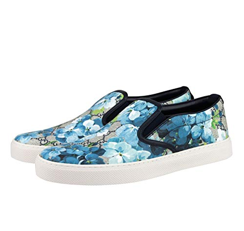 738d2131224 Gucci Bloom Flower Print Blue GG Supreme Coated Canvas Slip Sneakers ...