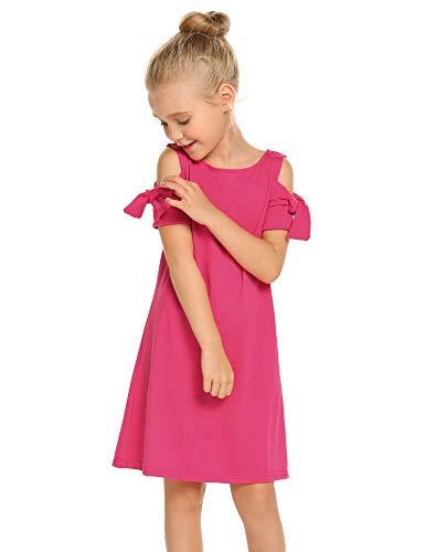 Arshiner Girls Cold Shoulder Ruffled Short Sleeve Casual
