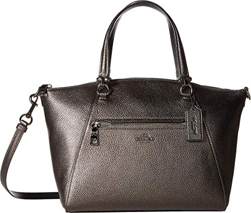 COACH Women's Metallic Leather Prairie Satchel Gunmetal/Metallic