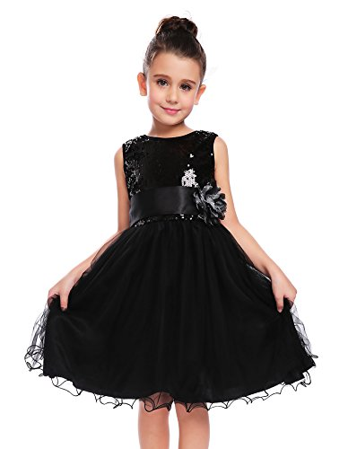 Arshiner Little Girls Sleeveless Sequin Ruffle Tulle