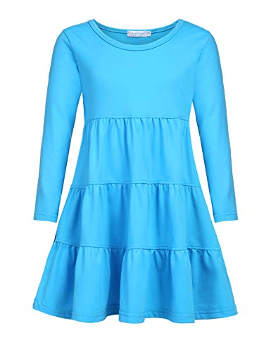 Arshiner Girls' Super Soft Cotton Long Sleeve Tiered Dress