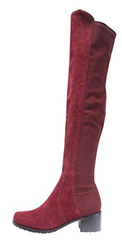 Kaitlyn Pan Mid Block Heel Genuine Leather Over The Knee Boots