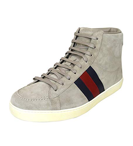 c35d2ea4f9e Gucci Men's Navy Suede BRB Leather Web Detail High top Sneakers
