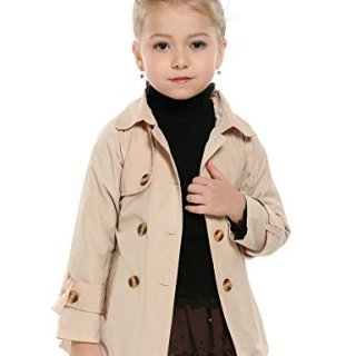 Arshiner Girls Double-Breasted Trench Jacket Coat Dress