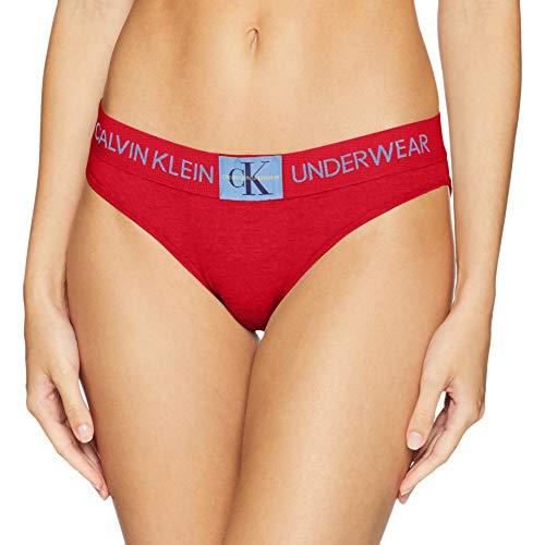 Calvin Klein Women's Monogram Bikini, Manic red, Large