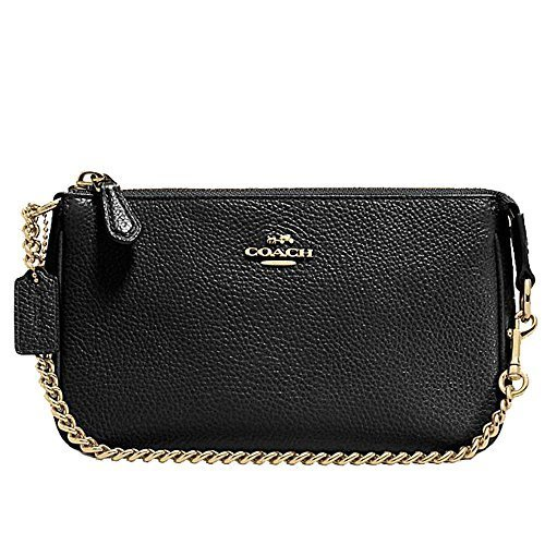 Coach Pebbled Black Leather Large Wristlet - Clutch