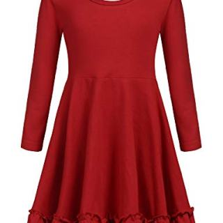 Arshiner Girls Long Sleeve Casual Dress