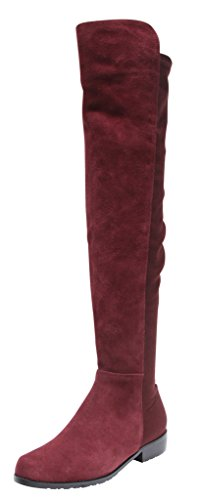 Kaitlyn Pan Flat Heel Genuine Leather Over The Knee Boots
