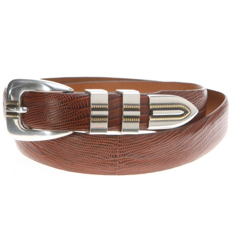 Johnston & Murphy Men's Lizard Grain Ranger Belt, Cognac 34