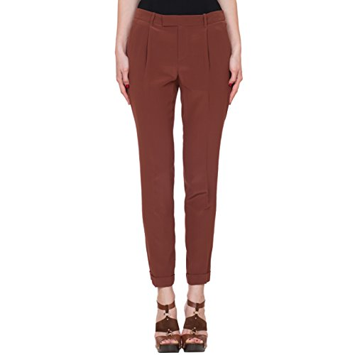 Gucci Women's Brown 100% Silk Slim Pants, Brown, 24W