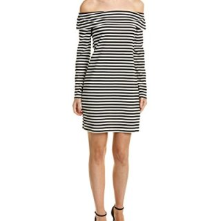 Trina Trina Turk Women's Camellias Stripe Knit Off Shoulder Dress