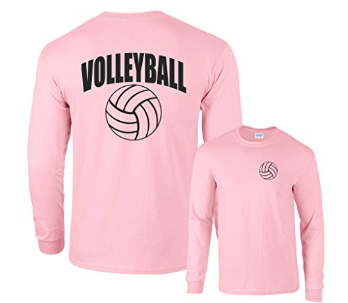 Fair Game Volleyball Arch Long Sleeve T-Shirt-Pink-Youth Large