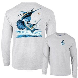 Fair Game Two Sailfish Fishing Long Sleeve T-Shirt-Ash-Large