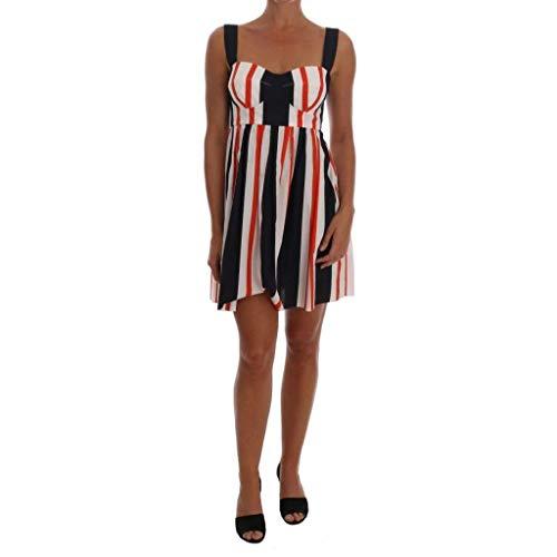 Dolce & Gabbana Multicolored Striped Cotton A-Line Dress