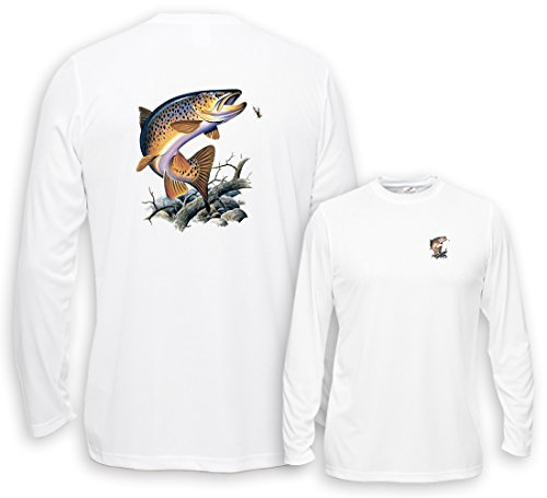 Fair Game UV Performance Long Sleeve Brown Trout-White-2x