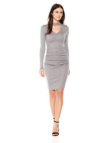 Michael Stars Women's Shine Long Sleeve V-Neck Choker Dress
