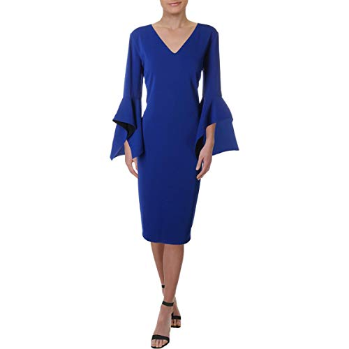 Badgley Mischka Womens Tulip Sleeves Professional Midi Dress