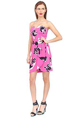 Yumi Kim Date Night Tulip Splash Print Strapless Silk Dress Small