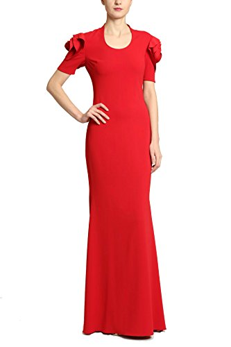 Badgley Mischka Ruby Red Floor Length Short Sleeve Dress