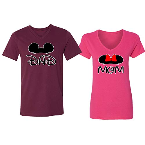 Disney Mickey Dad Minnie Mouse Mom Family Couple Design
