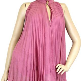 Gucci Women's Pink Silk Buttons Pleated Halter Top