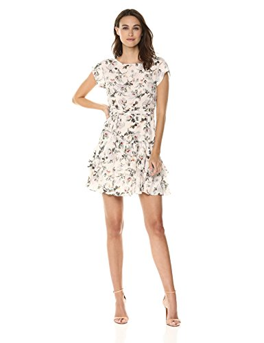 Rebecca Taylor Women's Short Sleeve Ruffle Silk Dress