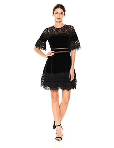 Rebecca Taylor Women's Shortsleeve Velvet & Lace Dress