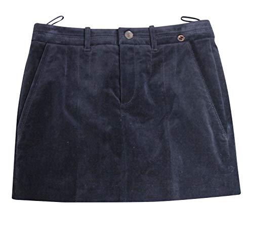 Gucci Interlocking G Blue Cotton Modal Elastane Velveteen Skirt