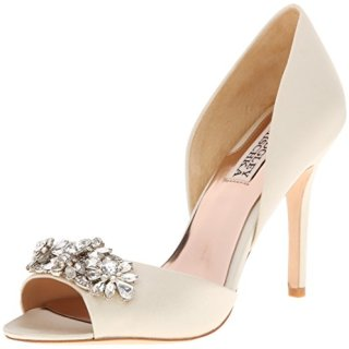 Badgley Mischka Women's Giana D'Orsay Pump, Ivory Satin