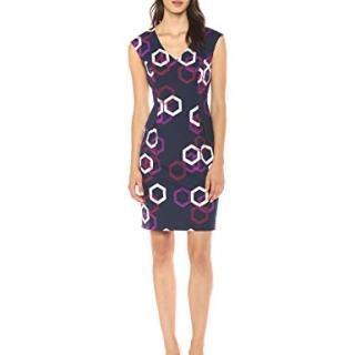 Trina Trina Turk Women's Litzy Cap Sleeve Dress, Hexagon Print