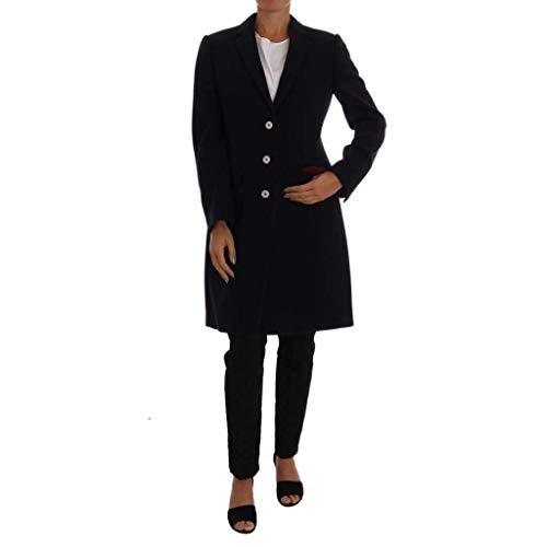 Dolce & Gabbana Blue Wool Long Classic Coat