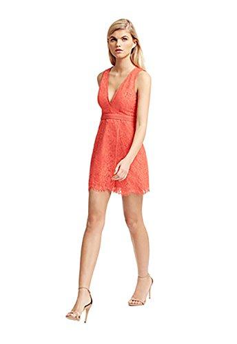 StyleStalker Aria Lace Circle Dress in Dark Coral (Medium)