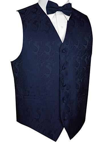 Brand Q Men's Tuxedo Vest and Bow-Tie Set-Navy Paisley-L
