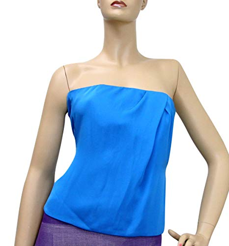 Gucci Women's Blue Silk Tube Corset Sleeveless Top