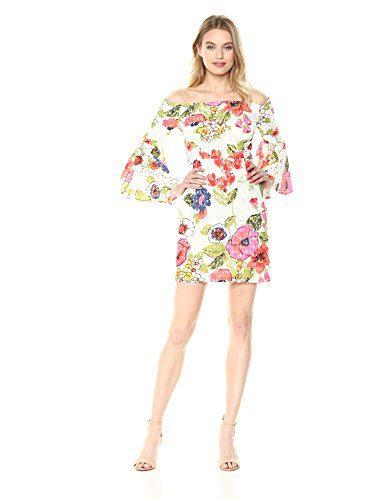 Trina Trina Turk Women's Miley Off The Shoulder Bell Sleeve Dress