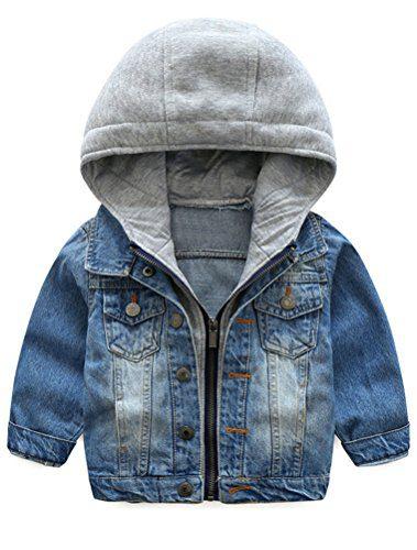 Abolai Baby Boys' Basic Denim Jacket Hoodie Button Down