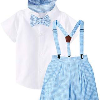 Baby Infant Boys Blue Checkers Suspender Bowtie Hat Short Set