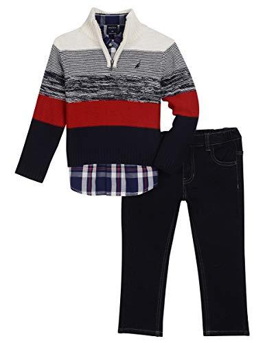Nautica Toddler Boys' Three Piece Sweater Set, Natural Cream, 3T