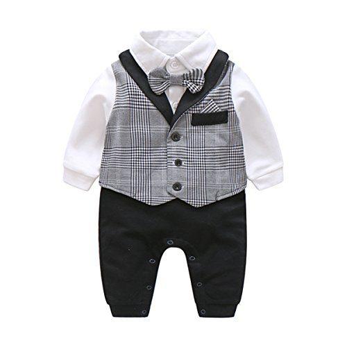 Newborn Baby Boys Gentleman Romper with Tuxedo Bow Tie