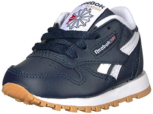 Reebok Boys' Classic Leather Sneaker Collegiate Navy/White/Gum